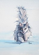 Felines Paintings - Border Patrol by Cynthia House