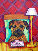 Library Paintings - Border Terrier at the Library by Jay  Schmetz