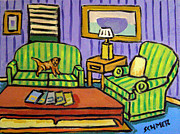 Jay Schmetz Metal Prints - Border Terrier on the Couch Metal Print by Jay  Schmetz