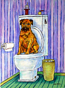 Jay Schmetz Framed Prints - Border Terrier on the Toilet Framed Print by Jay  Schmetz