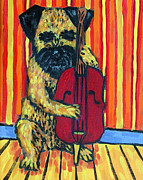 Stand Up Bass Framed Prints - Border Terrier Playing Stand up Bass Framed Print by Jay  Schmetz
