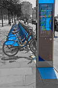 French Cyclists Prints - Boris Bikes Print by David French