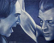 Boris Drawings - Boris Karloff and Bela Lugosi by Michael Jager
