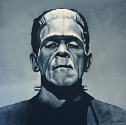 Horror Movies Painting Framed Prints - Boris Karloff as Frankenstein  Framed Print by Paul  Meijering