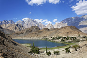 Pakistan Prints - Borith Lake and Mountains in Pakistan Print by Robert Preston