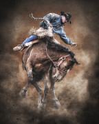 Bucking Posters - Born to Buck Live to Ride Poster by Ron  McGinnis