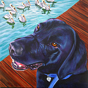Dog Swimming Paintings - Born To Swim by Louise Hallauer