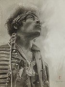 Jimi Hendrix Painting Originals - Born Under A Bad Sign by Robert Hooper