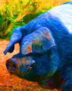 Pig Digital Art Metal Prints - Boss Hog - 2013-0108 Metal Print by Wingsdomain Art and Photography