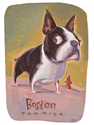 Boston Terrier Art Paintings - Boston and the Hydrant by Shawn Shea