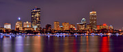 Boston Harbor Posters - Boston Back Bay Skyline at Night Color Panorama Poster by Jon Holiday