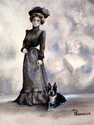 Terrier Paintings - Boston Beauties  -  Vintage Collection by Beverly Pegasus