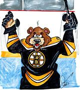 Boston Bruins Drawings - Boston Bruins Bear by Dave Olsen