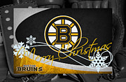 Puck Framed Prints - Boston Bruins Christmas Framed Print by Joe Hamilton