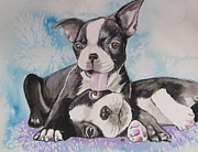 Puppies Painting Originals - Boston Buddies by Carol Blackhurst