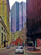 Live Art Digital Art Prints - Boston City Centre 2 Print by Yury Malkov
