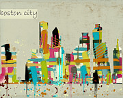 Watercolor Digital Art - Boston city skyline by Brian Buckley
