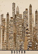 Global Drawings - Boston city vintage  by Brian Buckley