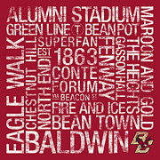 Maroon Prints - Boston College College Colors Subway Art Print by Replay Photos