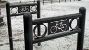 Boston Ma Posters - Boston Common Bike Racks Poster by Barbara McDevitt