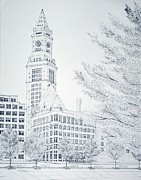 Cityscape Drawings - Boston Custom House by Tim Murray