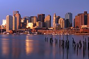 Prudential Center Photo Prints - Boston Financial District and Harbor Print by Juergen Roth
