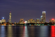 Night Scenes Framed Prints - Boston from Memorial Drive Framed Print by Joann Vitali