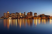 New England Acrylic Prints - Boston Harbor and Downtown by Juergen Roth