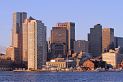 Skyscraper Photographs Photos - Boston Harbor and New England Aquarium by Juergen Roth