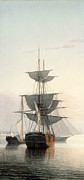 Tall Ships Prints - Boston Harbor At Sunset Detail 2 Print by Fitz Henry Lane