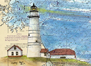 Boston Harbor Paintings - Boston Harbor Lighthouse MA Nautical Chart Map Art by Cathy Peek