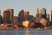 Custom House Tower Photos - Boston Harbor Morning Bliss by Juergen Roth