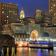 City Skylines Posters - Boston Harbor Party Poster by Joann Vitali