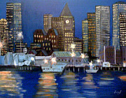 Boston Skyline Paintings - Boston Harbor Scape by Inna J