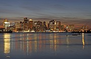 Cityscape Photograph Photos - Boston Harbor Skyline Reflection by Juergen Roth