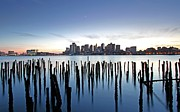 Art Of Building Acrylic Prints - Boston Harbor Skyline with ICA Acrylic Print by Juergen Roth
