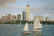 Charles River Painting Posters - Boston in Blue Poster by OMalley Keyes