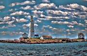 Boston Digital Art Metal Prints - Boston Light Little Brewster Island Metal Print by Larry  Richardson