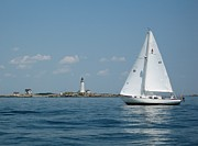 Sailboat Ocean Photos - Boston Light two by Laura Lee Zanghetti