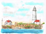 Watercolors Painting Originals - Boston Lighthouse by Carlos G Groppa