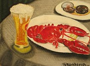 Boston Pastels Prints - Boston Lobster Print by Victor Berelovich