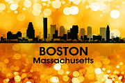 Massachusetts Mixed Media Posters - Boston MA 3 Poster by Angelina Vick