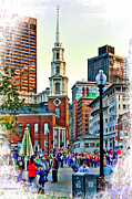 Boston Ma Prints - Boston MA Park Street Church Print by Larry  Richardson
