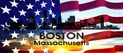 Boston Ma Mixed Media Prints - Boston MA Patriotic Large Cityscape Print by Angelina Vick