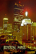 Boston Digital Art Metal Prints - Boston Massachusetts Night Scene Digital Art Metal Print by A Gurmankin