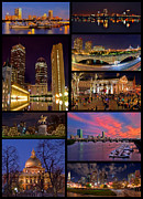 Longfellow Prints - Boston Nights Collage Print by Joann Vitali