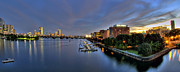 Boston Nights Posters - Boston Nights- Panoramic Poster by Joann Vitali