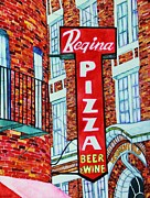 Brick Buildings Prints - Boston Pizzeria  Print by Janet Immordino