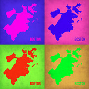World Map Digital Art Metal Prints - Boston Pop Art Map 1 Metal Print by Irina  March