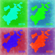 World Map Digital Art Metal Prints - Boston Pop Art Map 2 Metal Print by Irina  March